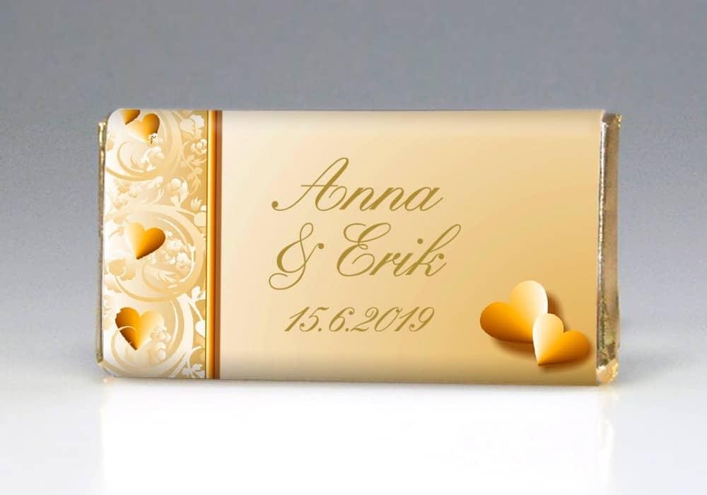 Dárek pro svatební hosty - čokoládka ELEGANCE - přední strana
