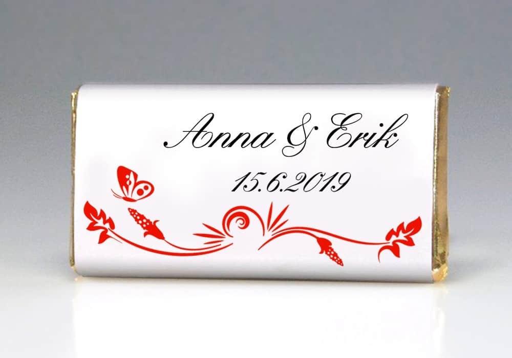 Dárek pro svatební hosty - čokoládka MOTÝLEK - přední strana