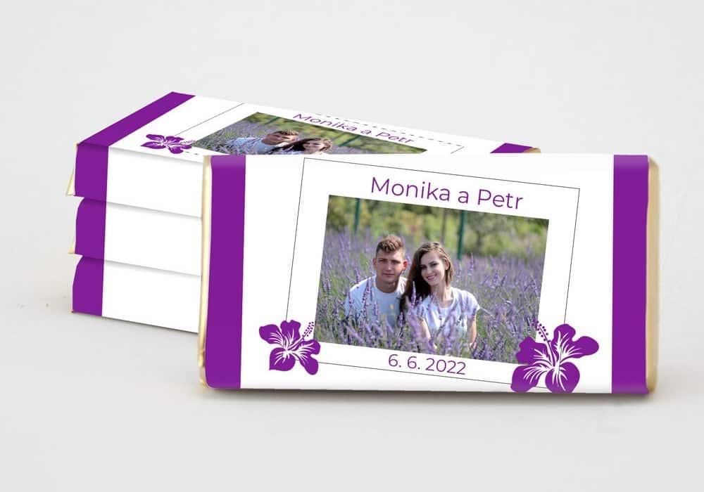 Dárek pro svatební hosty - čokoládka S PRUHEM - přední strana