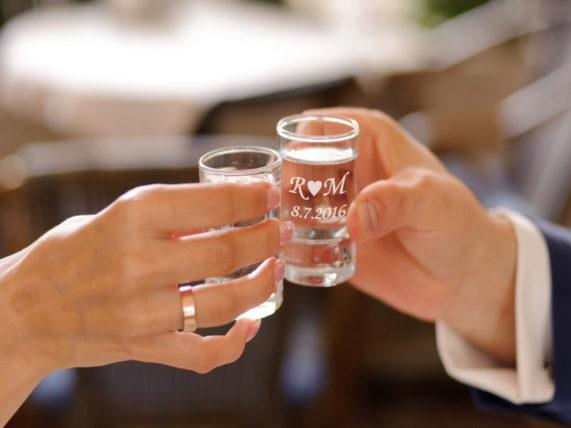 Svatební skleničky na panáka s gravírováním