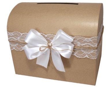 Svatební truhla na přání a peníze hnědá přírodní, rozměr 30x20x23cm