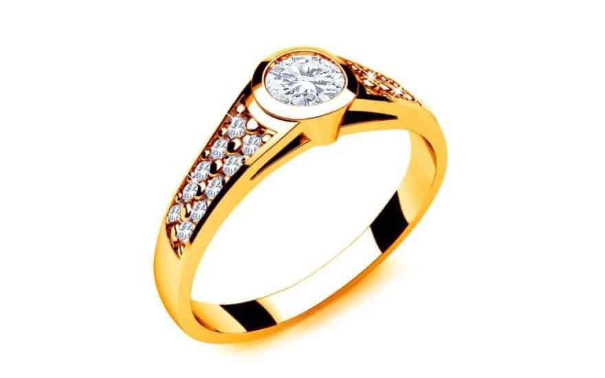 Zásnubní prsten s diamanty 0,350 ct Key To Heart 10 Yellow