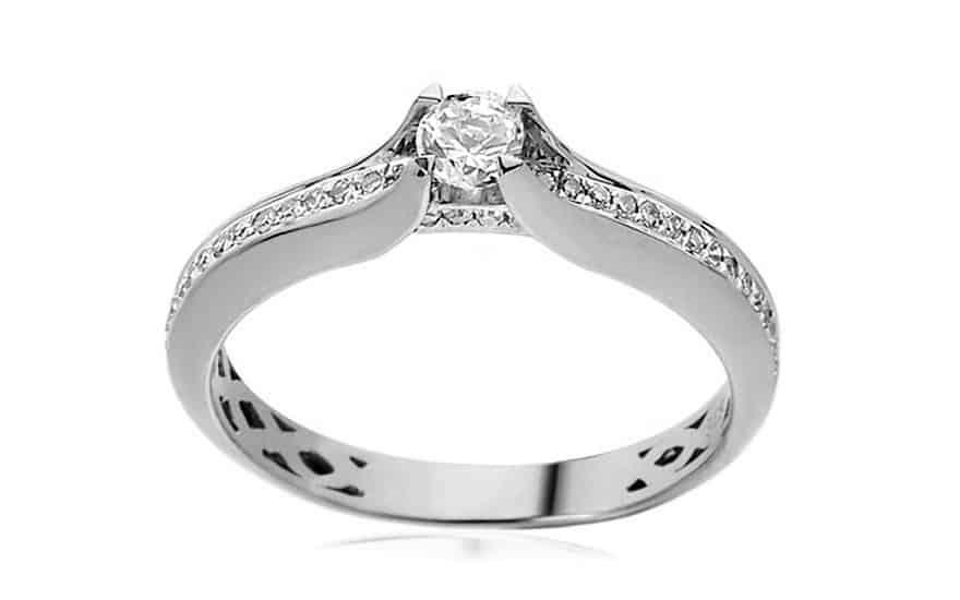 Zásnubní prsten z bílého zlata s diamanty 0,230 ct Jeane