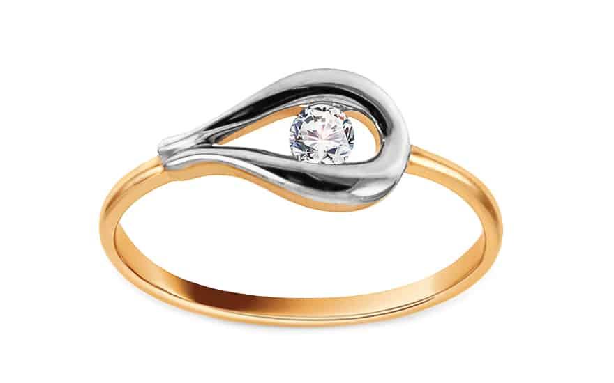 Zlatý dvoubarevný prsten se zirkonem Delma, model: IZ14570