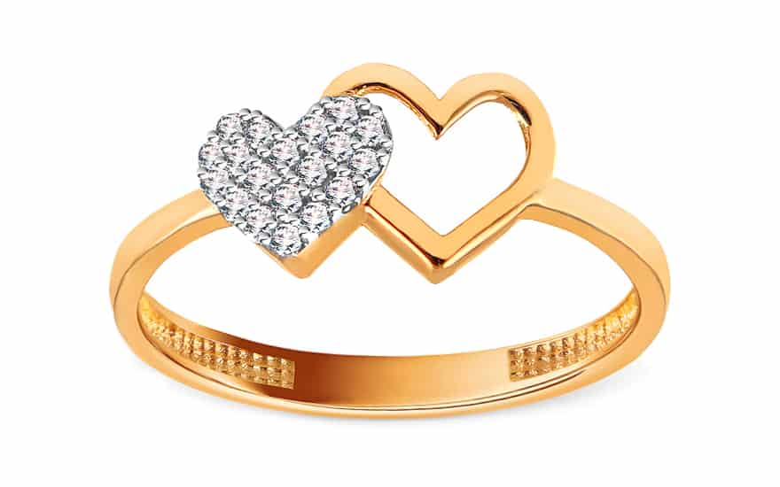 Zlatý dvoubarevný prsten se zirkony Srdíčka, model: IZ15744
