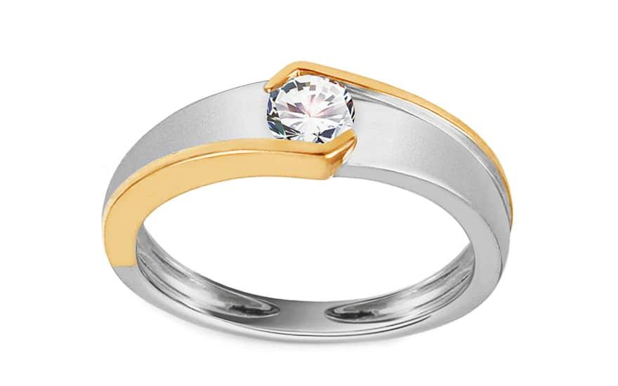 Zlatý dvoubarevný zásnubní prsten s diamantem 0,250 ct Zaria
