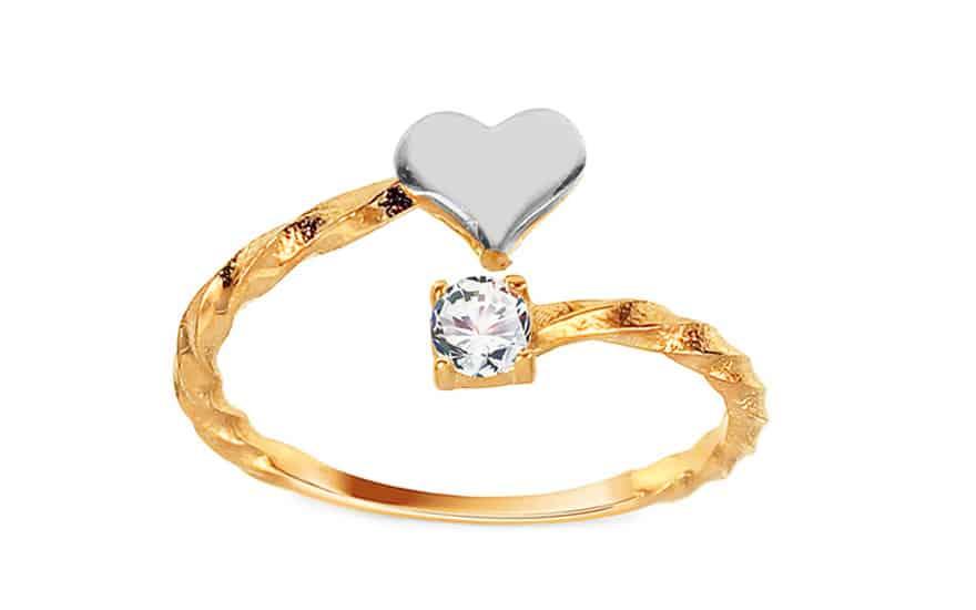 Zlatý otevřený prsten se srdíčkem a zirkonem, model: IZ11400