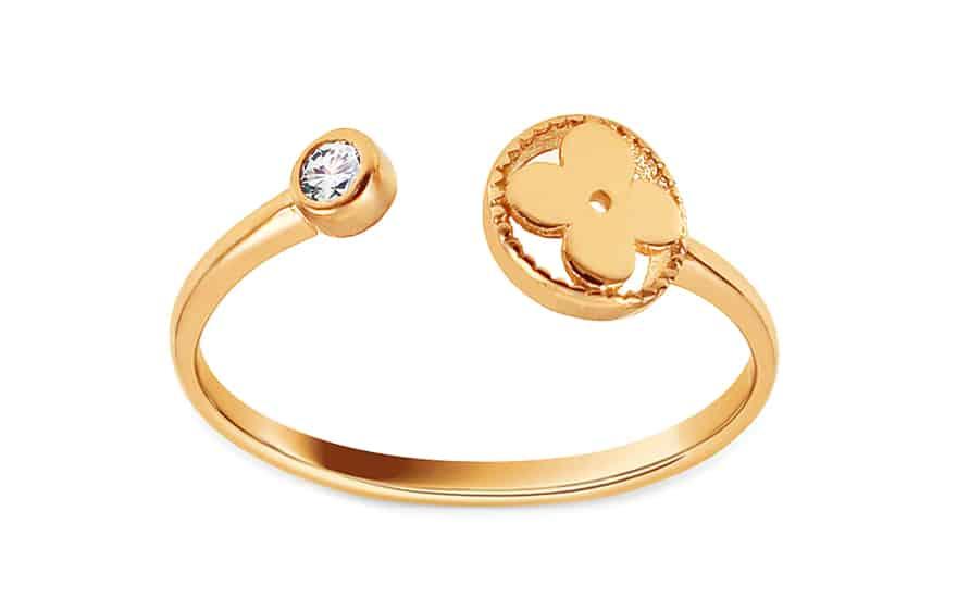 Zlatý otevřený prsten se zirkonem Richelle, model: IZ13796