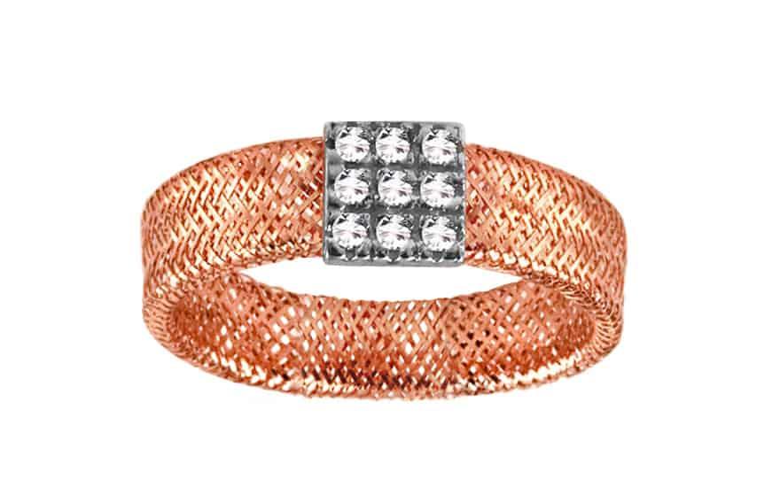 Zlatý prsten Flexi red se zirkony, model: IZ9412