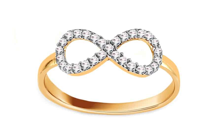 Zlatý prsten nekonečno se zirkon, model: IZ12561