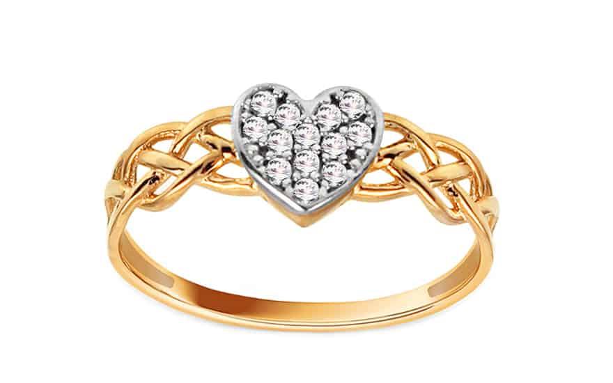 Zlatý prsten pletený se srdíčkem vykládaným zirkony, model: IZ11403