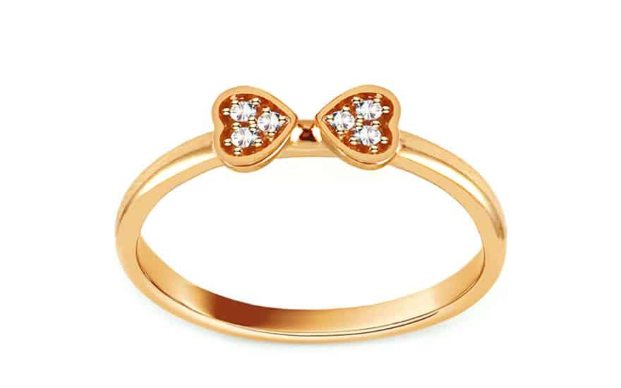 Zlatý prsten s dvojicí srdíček se zirkony, model: IZ13259