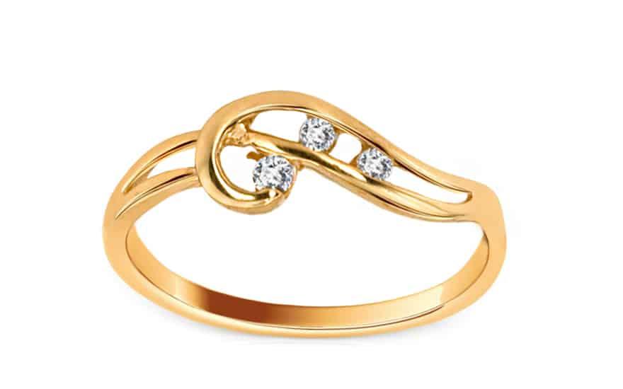 Zlatý prsten s kamínky Clichy 3, model: IZ6092