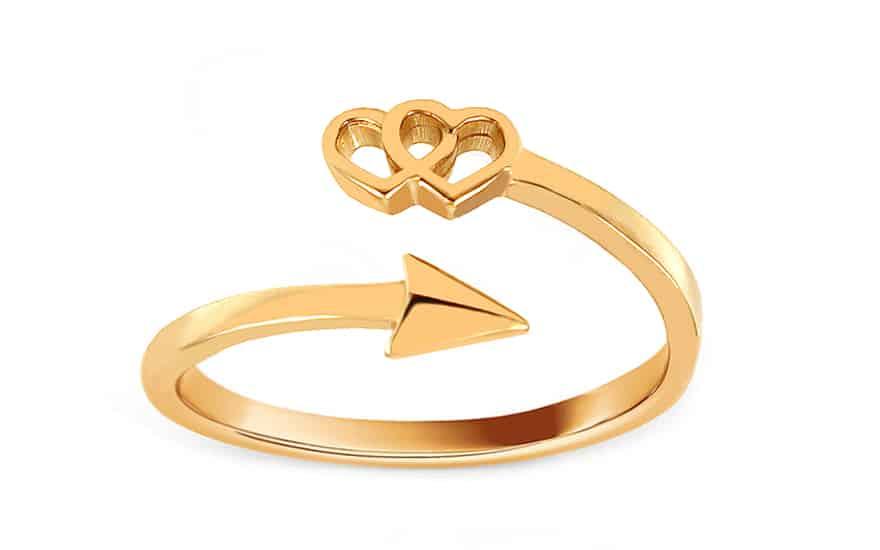 Zlatý prsten se šípem a srdci, model: CSRI1459