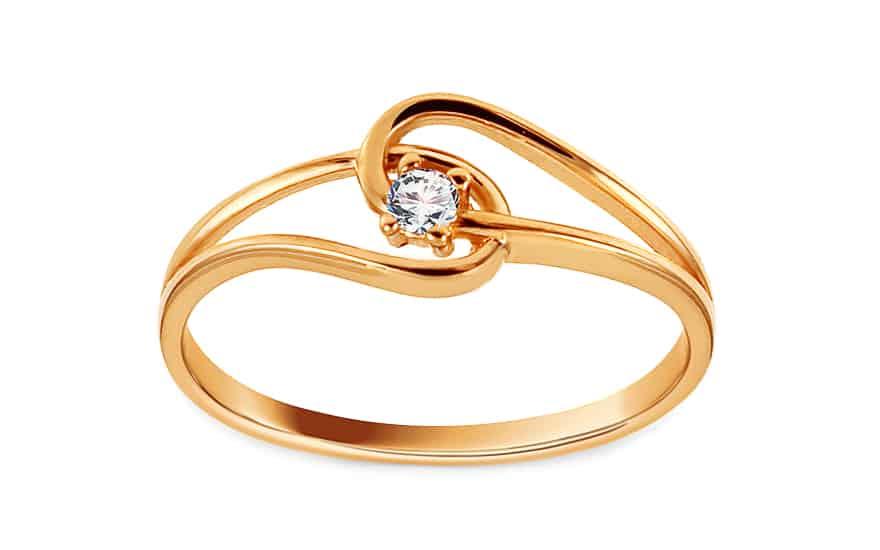 Zlatý prsten se zirkonem Ivani, model: IZ14530
