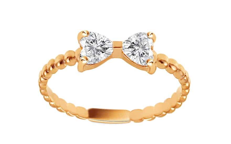 Zlatý prsten se zirkonovou mašličkou, model: IZ13304