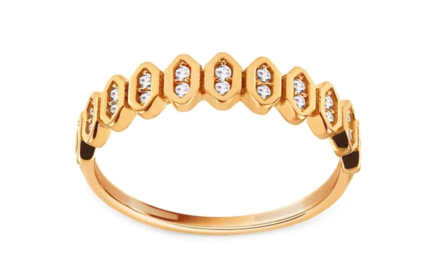 Zlatý prsten se zirkony Maiya, model: IZ13769