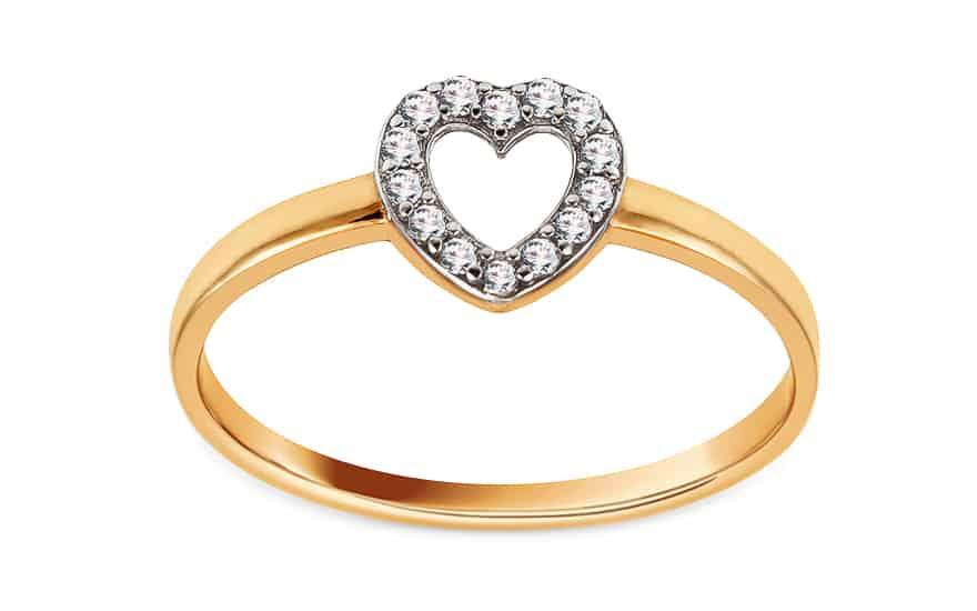 Zlatý prsten se zirkony Srdíčko, model: IZ15740