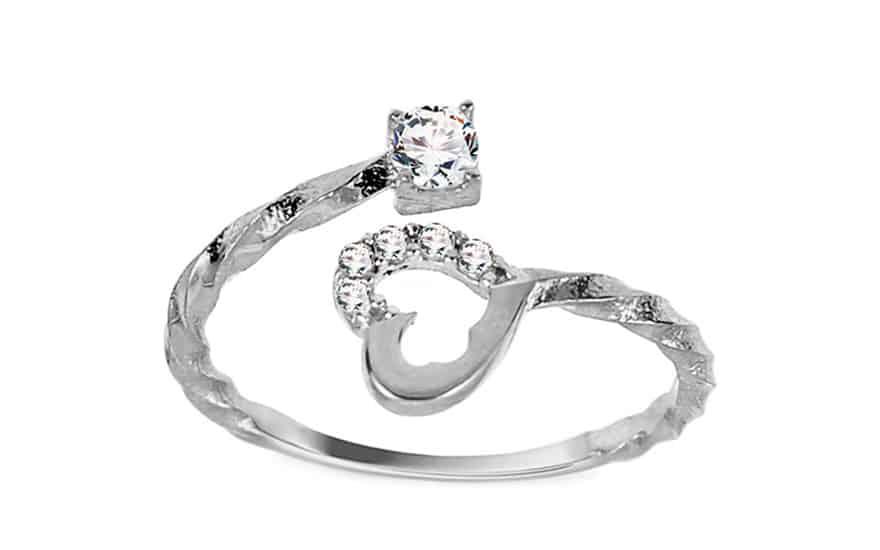 Zlatý prsten točený se srdíčkem a zirkony, model: IZ11401A