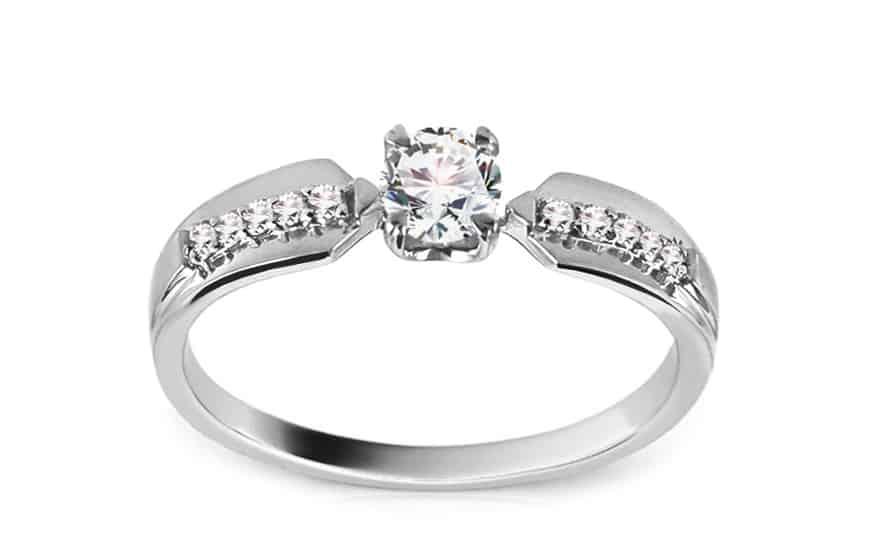 Zlatý zásnubní prsten s diamanty Hannah white