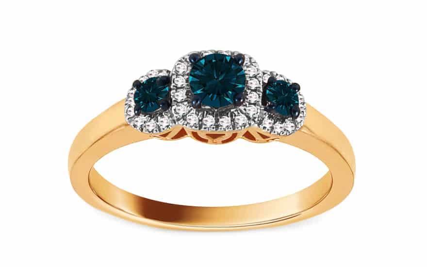 Zlatý zásnubní prsten s modrými diamanty 0,530 ct Bedelia