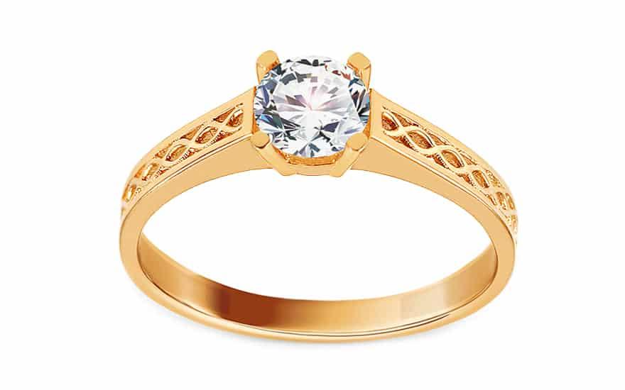 Zlatý zásnubní prsten se strukturovaným vzorem a zirkonem, model: IZ15628