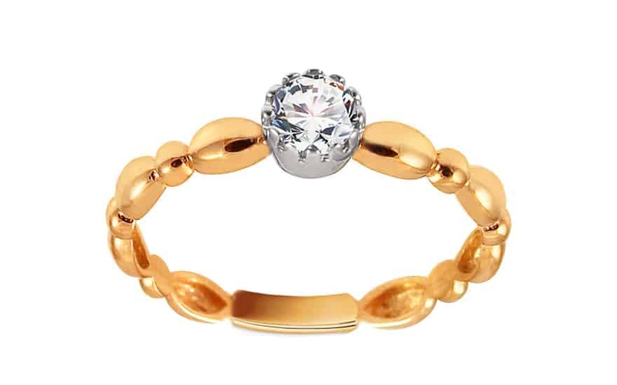 Zlatý zásnubní prsten se zirkonem Avril, model: IZ13320