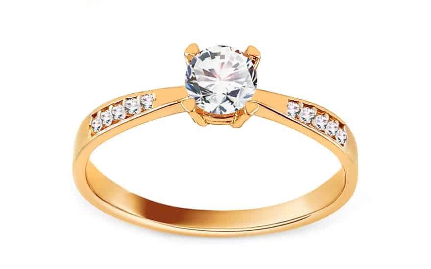 Zlatý zásnubní prsten se zirkony, model: IZ15631