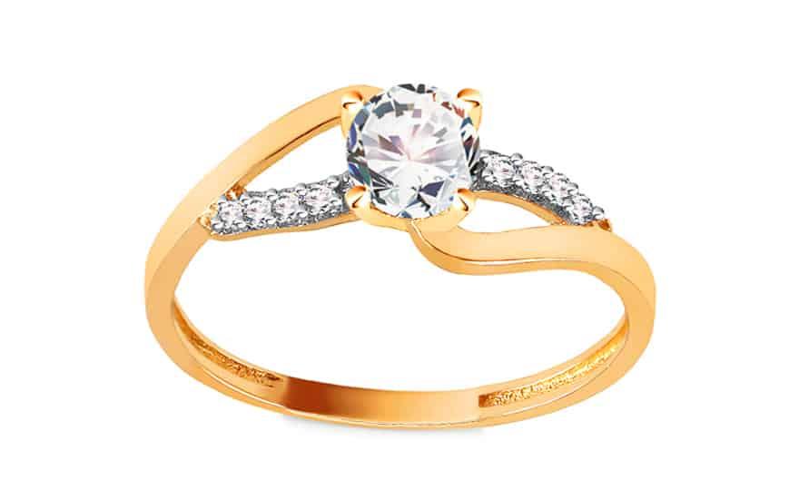 Zlatý zásnubní prsten se zirkony, model: IZ15598