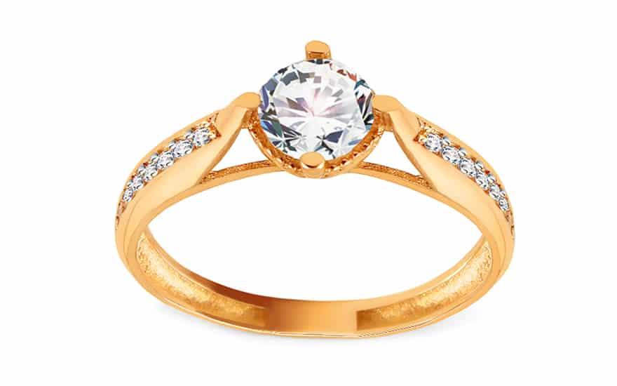 Zlatý zásnubní prsten se zirkony, model: IZ15929