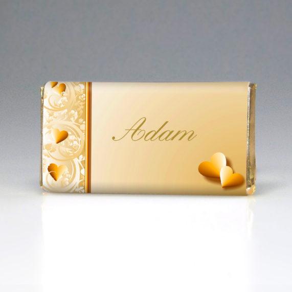 Čokoládová jmenovka ve zlaté