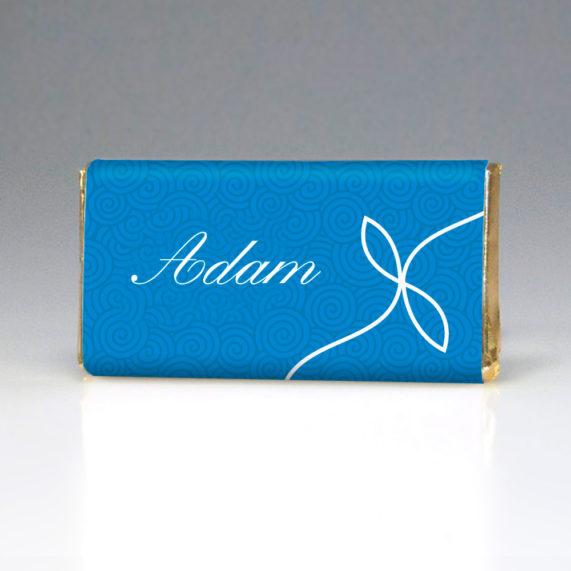 Čokoládová jmenovka v modré
