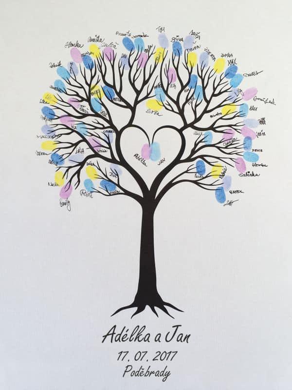 Svatební strom se jmény 53 x 73 cm pro 60 až 160 hostů