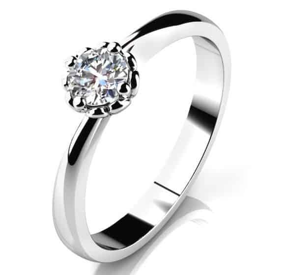 Zásnubní prstenHelios W Briliant z bílého zlata shora