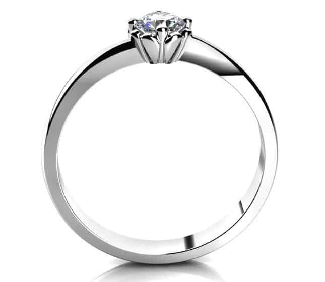 Zásnubní prstenHelios W Briliant z bílého zlata ze strany