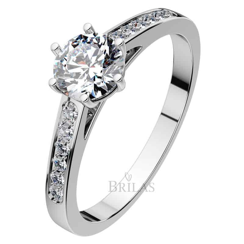 Zásnubní prsten Isisi White z bílého zlata shora