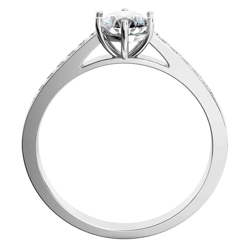 Zásnubní prsten Isisi White z bílého zlata ze strany