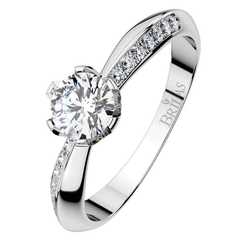 Luxusní zásnubní prsten Michaela W Briliant z bílého zlata shora
