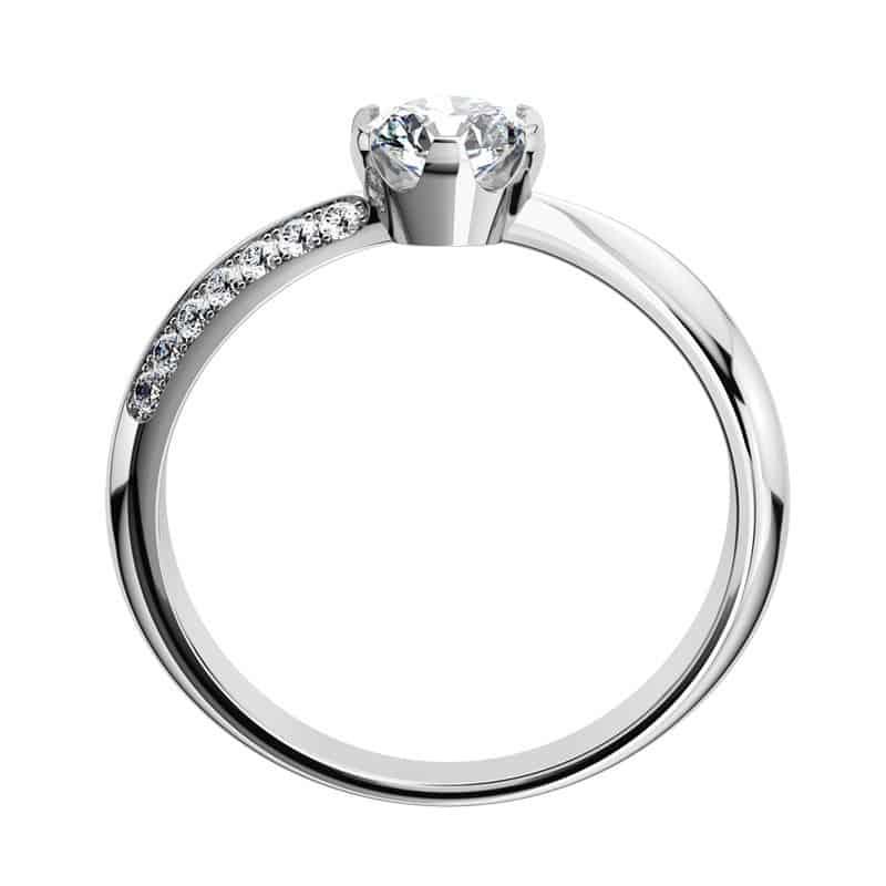 Luxusní zásnubní prsten Michaela W Briliant z bílého zlata ze strany