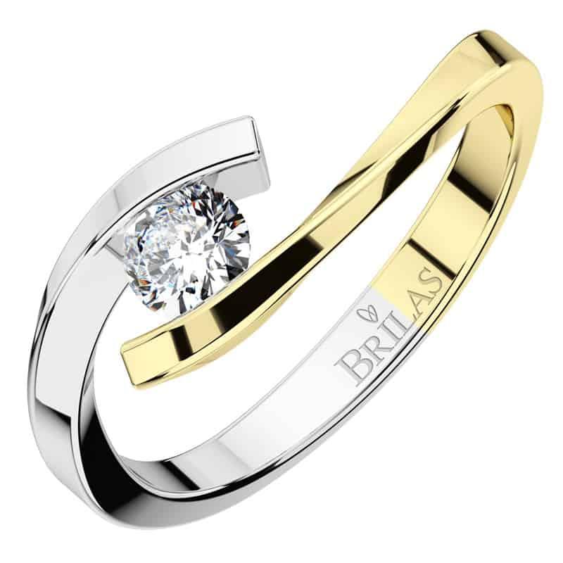Luxusnízásnubní prsten Nuria Colour GW Briliant z bílého zlata shora