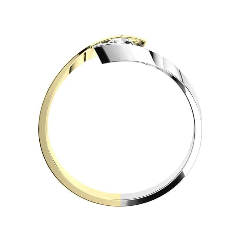 Luxusnízásnubní prsten Nuria Colour GW Briliant z bílého zlata ze strany
