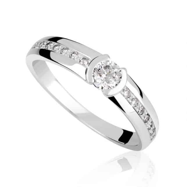 Zásnubní prsten DF 2832 z bílého zlata s briliantem
