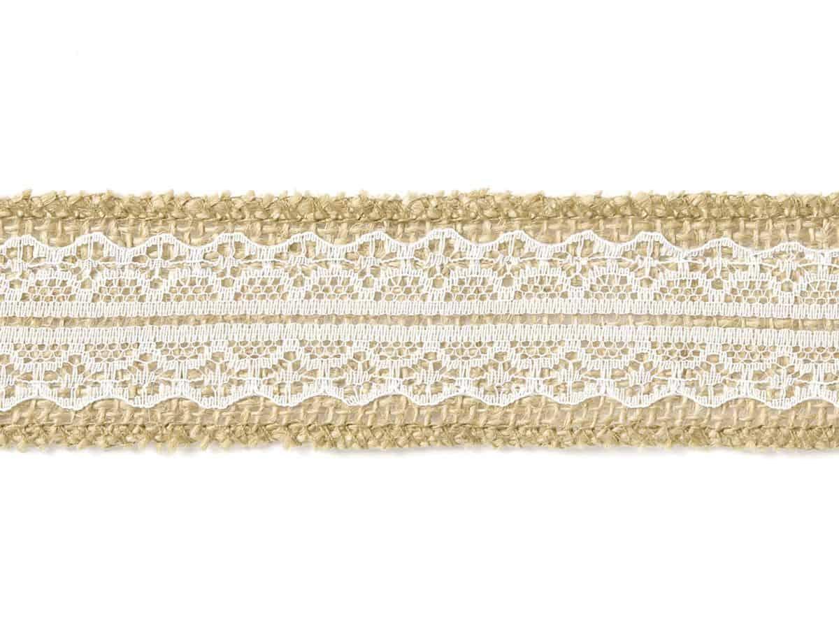 Jutová stuha s krajkou na stůl 4 cm x 5 metrů