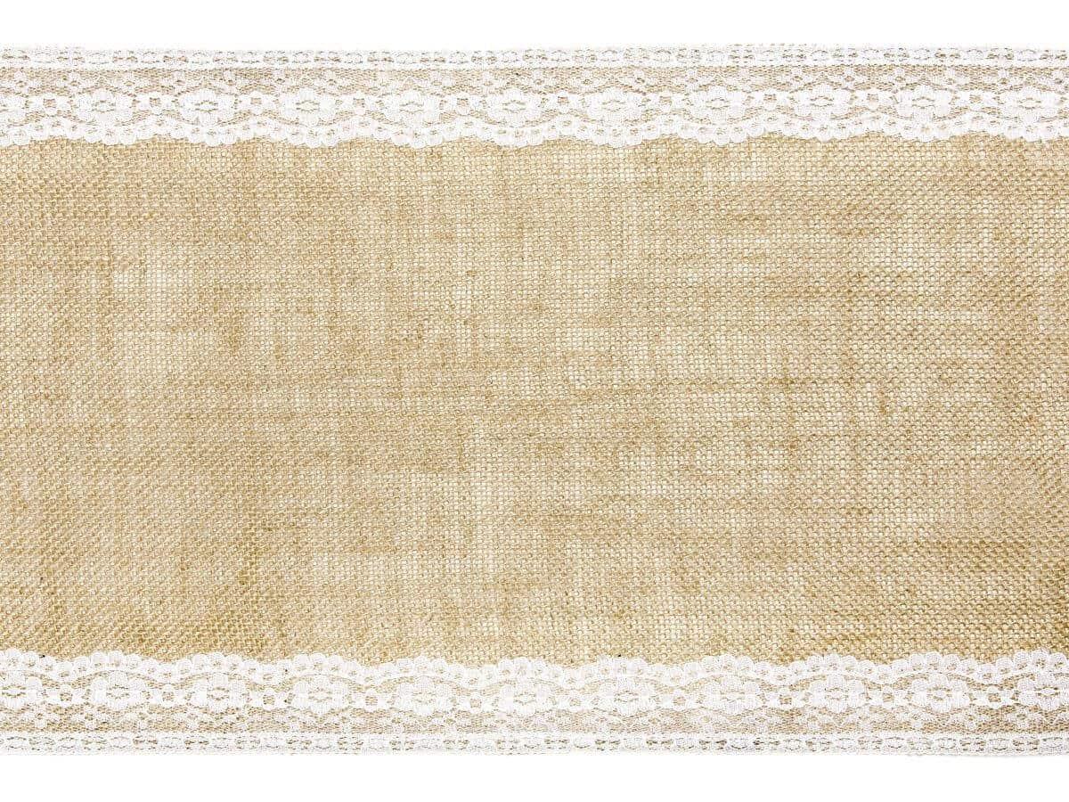 Jutový běhoun s krajkou na stůl 28 cm x 2,75 metrů
