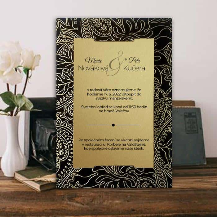 Netradiční svatební oznámení - zlatočerné typ 1435