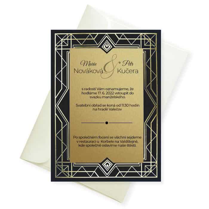 Netradiční svatební oznámení - zlatočerné typ 1442