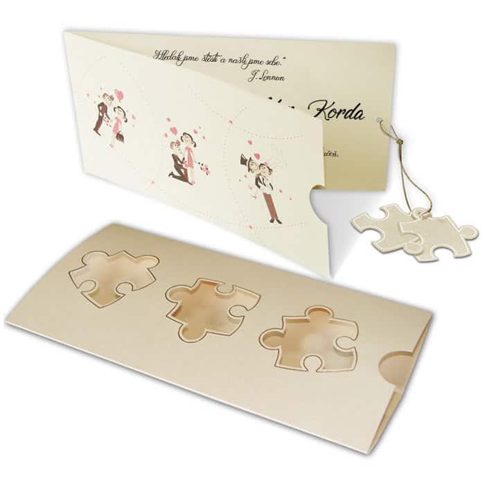 Netradiční svatební oznámení - typ puzzle