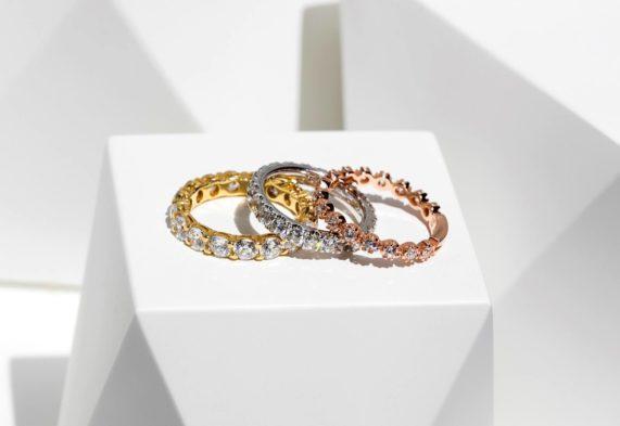 Nádherné luxusní prsteny vprovedení žluté, bílé a růžové zlato s brilianty