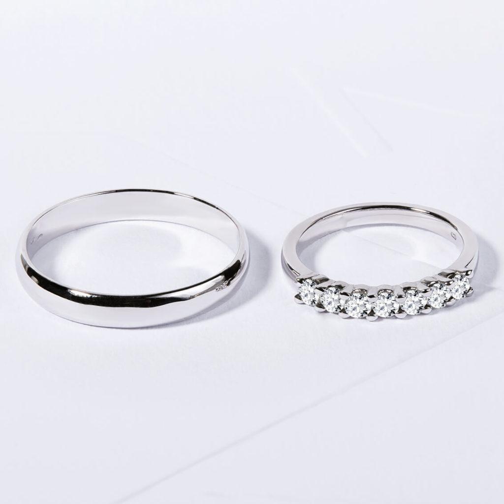 Snubní prsteny bílé zlato s diamanty lesklý zn. Klenota