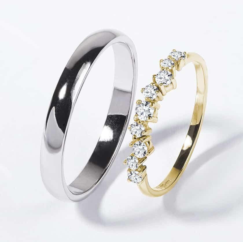 Snubní prsteny bílé a žluté zlato s diamanty lesklý zn. Klenota